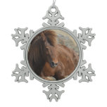 Adorable Chestnut Icelandic Horse Snowflake Pewter Christmas Ornament
