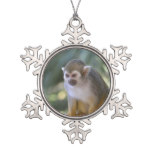 Amazing Squirrel Monkey Snowflake Pewter Christmas Ornament