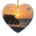 Beach at Sunset Ceramic Ornament