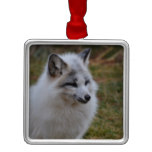 Beautiful White Swift Fox Metal Ornament