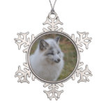 Beautiful White Swift Fox Snowflake Pewter Christmas Ornament