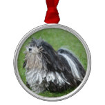 Black and White Puli Dog Metal Ornament