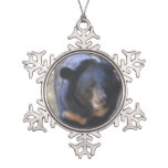 Black Spectacled Bear Snowflake Pewter Christmas Ornament