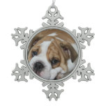 Bulldog Snowflake Pewter Christmas Ornament