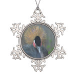 Curious African Crowned Crane Snowflake Pewter Christmas Ornament