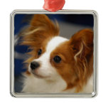 Cute Papillon Dog Metal Ornament