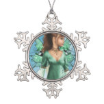 Fairytales Snowflake Pewter Christmas Ornament