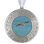 Gliding Pelican Pewter Ornament