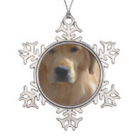 Golden Pup Snowflake Pewter Christmas Ornament