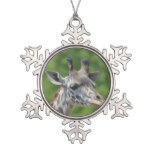 Great Giraffe Snowflake Pewter Christmas Ornament