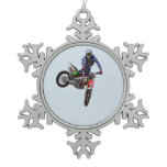 High Flying Motocross Snowflake Pewter Christmas Ornament