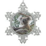 Koala Bear Snowflake Pewter Christmas Ornament