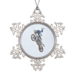 Motocross Extreme Tricks Snowflake Pewter Christmas Ornament