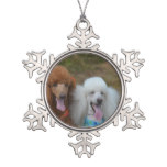 Pair of Poodles Snowflake Pewter Christmas Ornament