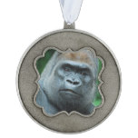 Perplexed Gorilla Pewter Ornament