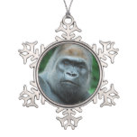Perplexed Gorilla Snowflake Pewter Christmas Ornament