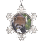 Prowling Red Panda Snowflake Pewter Christmas Ornament