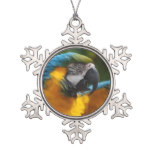 Ruffled Blue and Gold Macaw Snowflake Pewter Christmas Ornament