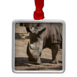 Rutting Rhino Metal Ornament