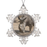 Rutting Rhino Snowflake Pewter Christmas Ornament