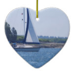 Sailing in the Blue Ceramic Ornament
