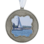 Sailing in the Blue Pewter Ornament