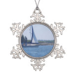 Sailing in the Blue Snowflake Pewter Christmas Ornament
