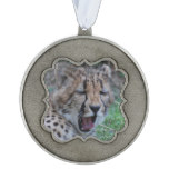 Sleepy Cheetah Cub Pewter Ornament