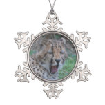 Sleepy Cheetah Cub Snowflake Pewter Christmas Ornament