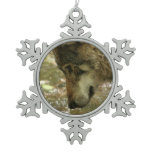 Wolf Snowflake Pewter Christmas Ornament